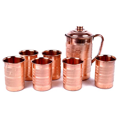 Hand-e-Crafts Brown Color Copper Jug - 2000 ml and 6 Glass Sets (400 ml each)