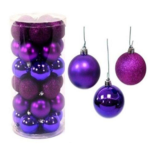 Pack 30 boules de Noël Brillant, mat Paillettes 6 cm Violet