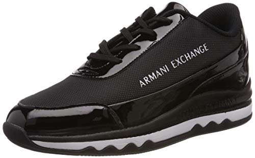 Armani Exchange Damen Nylon lace up Sneaker Schwarz Black K001, 39 EU