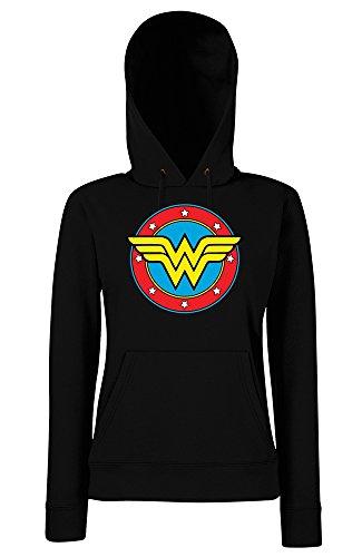 TRVPPY - Sweat Pull à capuche, modèle WONDERWOMAN - Femme, différentes tailles et couleurs Noir