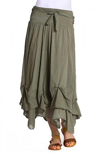 CASPAR Damen unifarbener langer Baumwoll Sommer Rock / Faltenrock - viele Farben - RO003, Farbe:oliv grün (Langer Zigeuner Rock)