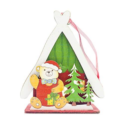 Myspace 2019 Dekoration für Christmas LED-Licht Kabine Holzhaus Gemalt Niedlichen Weihnachtsbaum Hängen Ornamente Urlaub Weihnachtsdekoration