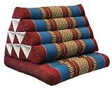 Kapok Thaikissen, Yogakissen, Massagekissen, Kopfkissen, Tantrakissen, Sitzkissen - rot/blau (Dreieck mit 1 Auflage 52x35x45 (81201))