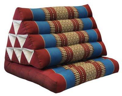 Kapok Thaikissen, Yogakissen, Massagekissen, Kopfkissen, Tantrakissen, Sitzkissen - rot/blau (Dreieck mit 1 Auflage 52x35x45 (81201)) -