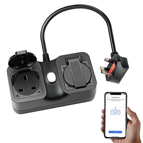 WiFi Smart Plug, Meross WiFi Plug 2 Grounded Heavy Duty Outlet IP44 Waterproof Compatible with Amazon Alexa, Google Assistant, SmartThings IFTTT