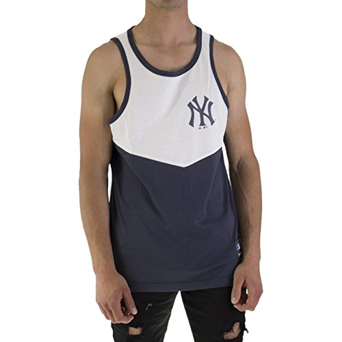 Majestic Tank Top MLB New York Yankees Edger Chevron Blanc Bleu Taille  S ( ef651fc11cd