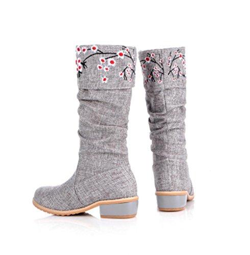 Best 4U® Scarpe da donna Autunno inverno Stivali Tacco grosso in cotone Stivali con punta arrotondata Ricamo Fiore rosa apricot