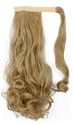 S-noilite Ash Blonde 17 Inches Curly Wavy Wrap Around on Ponytail Clip in Hair Extensions Hairpiece Pony Tail
