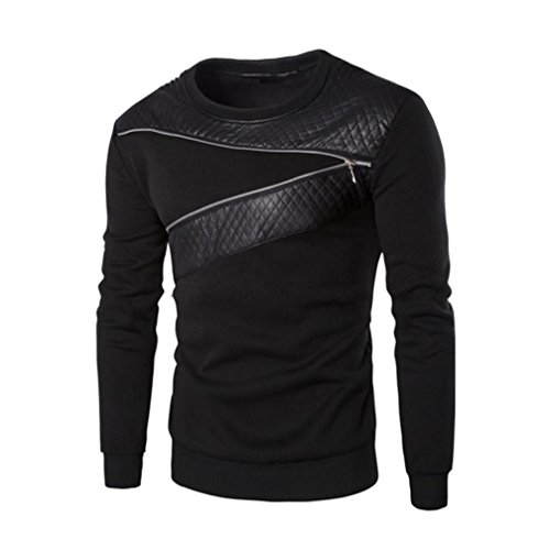 T Shirt Herren Langarm Winter Warme Spleißen Leder Sweatshirt Mantel Outwear Pullover By Dragon (Schwarz, L5) (Baumwoll-henley Lauren)