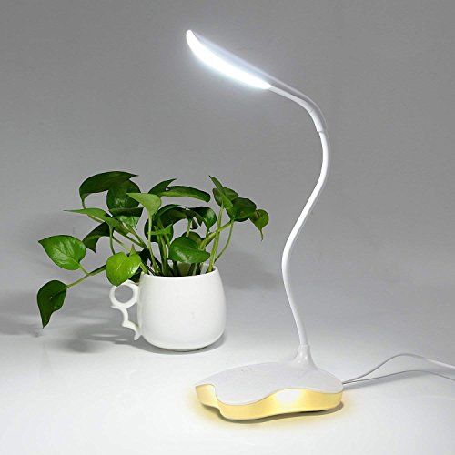 GREEMPIRE Schreibtischlampe LED, Tischlampe USB dimmbar mit Berührendem Schalter, Schreibtischleuchte Dimmbar für Lesen Nacht, Tischlampe für Kinder Jungen Schüler (Warmes Licht, Weiß)