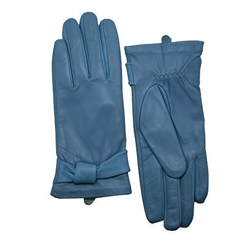 YISEVEN Soft Damen Lederhandschuhe für Winter Warm Lammfell Handschuhe 100% Thermal Lining Pure Warm Driving Motorrad Arbeitsanzug für den täglichen Gebrauch Blaue Aster 7.5'/Large