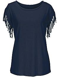 Hibote Tallas Grandes de Las Mujeres de Manga Corta Casual Cuello Redondo Tassel Túnica Tops Camiseta