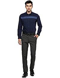 Turtle Men's Navy Blue Structured Slim Fit Formal Shirt With Satin Finish