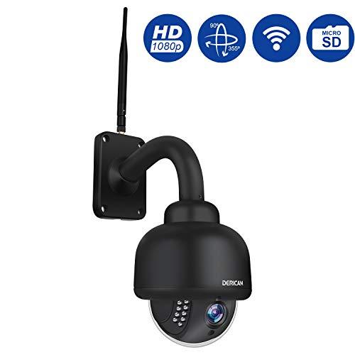 Dericam PTZ-Kamera für den Außenbereich, 1080P WiFi-Sicherheits-IP-Kamera, 4fach optisches Zoom, Nachtsicht, Autofokus mit vorinstallierter 32G Micro SD-Karte, Schwarz (Wireless-kamera-app)