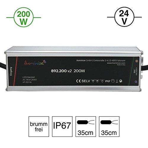 iluminize LED-Netzteil - 200W jetzt noch effizienter: hochwertiges & leistungsstarkes LED-Netzteil Aluminium 24V, IP67, brummfrei, laststabil, Anschlusskabel 35cm ohne Stecker (24V 200W)