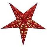 BRUBAKER Falt Weihnachtsstern 5 Zacken Rot, florale Auschnitte - mit orangefarbenen Transparentpapier unterlegt - 60 cm