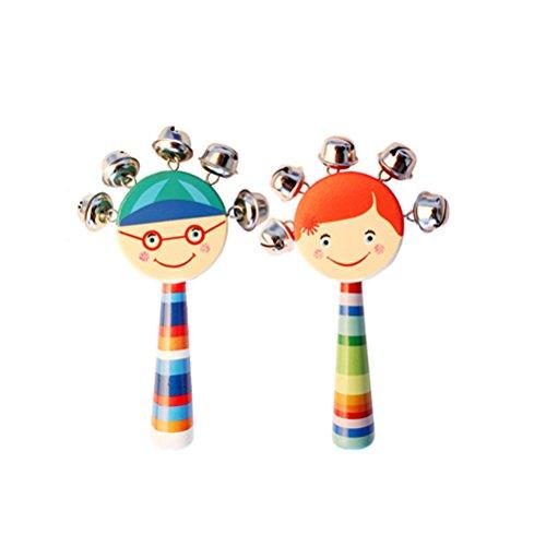 2 Stück Schlitten (TOYMYTOY 2 Stücke Baby Kinder Niedlichen Karton Holz Lächelndes Gesicht Handbells Ratteles Frühe Pädagogische Musikinstrument Schlitten Glocken Jingle Bells Spielzeug (gelegentliche Farbe))