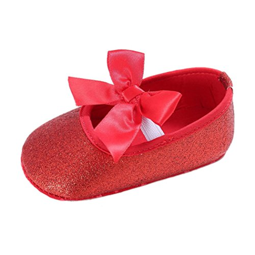 Koly Newborn Baby Anti-slip Soft Bottom Prewalker Shoes Glitter Party First Walking Shoes (6-12 Months, Red)