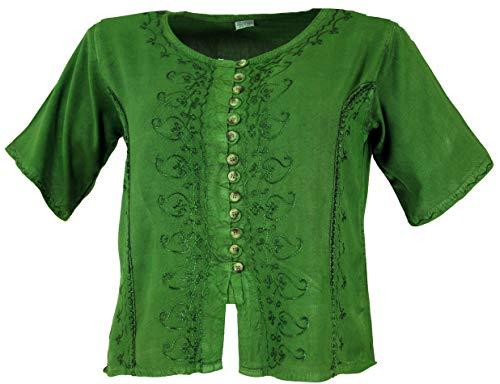 Guru-Shop Kurzes Blusentop Boho Chic, Indische Hippie Bluse, Damen, Grün, Synthetisch, Size:42, Blusen & Tunikas Alternative Bekleidung - Hippie Tunika Bluse