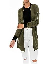 HENGSONG Automne Femme Simple Veste Mode Longue Cardigan Manteau