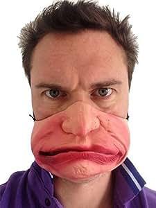 Drôle Demi Visage Grumpy Old Man Gurn Masque Latex Déguisement Fête Fou Masquerade