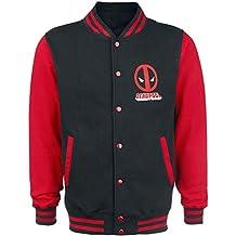 Deadpool Logo Cazadora Tipo Universitario Negro/Rojo