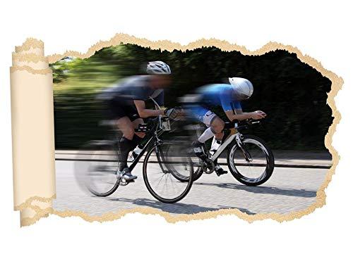3D Wandtattoo Rennrad fahren Straße Fahrrad tour Tapete Wand Aufkleber Wanddurchbruch Deko Wandbild Wandsticker 11N2148, Wandbild Größe F:ca. 97cmx57cm