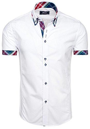 BOLF Mens chemise casual avec manches courtes Slim Fit Classique 2B2 Blanc