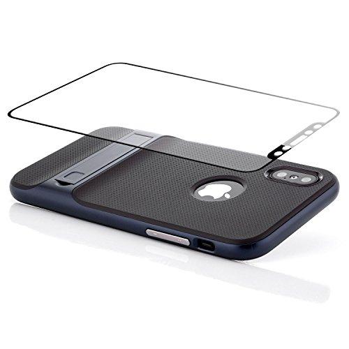 Custodia iPhone X Cover + Vetro Temperato 3D, Silicone Slim Case [Neo Hybrid] Cuscino daria Tecnologia Soft TPU protezione Back Protector Hard Cover e Bumper [Antiurto] con Supporto Stand Argento Blu Scuro