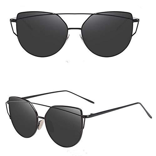 MOJINGYAN Sonnenbrillen Cat Eye Retro Black Mirror Mode Sonnenbrille Frauen Metall Reflektierende Ebene Objektiv Sonnenbrille Frau Gläser