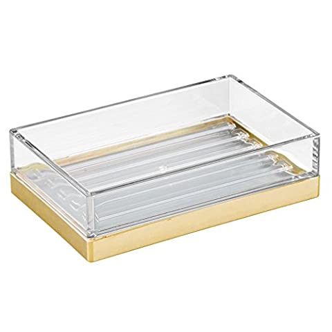 InterDesign Clarity Bar Soap Dish for Bathroom Vanities/Kitchen Sink, Plastic, Clear/Brushed Gold