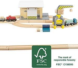 Small Foot Company-11377 Estación de Carga con Accesorios, con camión, Locomotora, Puerta corrediza, grúa de 360 Grados y rieles Juguetes, Multicolor (11377)