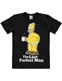 LOGOSHIRT - T-Shirt Herren Homer Simpson - The Simpsons - Last Perfect Man - schwarz - Lizenziertes Originaldesign