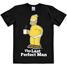 LOGOSHIRT - T-Shirt Herren Homer Simpson - The Simpsons - Last Perfect Man - schwarz - Lizenziertes Originaldesign