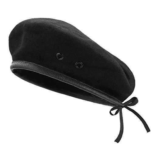 AYPOW Wolle Baskenmützen, Herren-Damen-Barettmützen mit Lederbesatz - verstellbar, Einheitsgröße