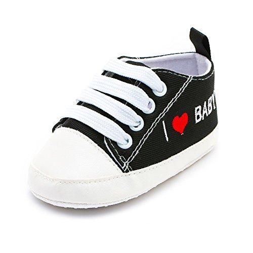 Chaussures Bébé Binggong Nouveau-né bébé bébé Filles garçons Coeur Lettre Impression Solide Semelle Souple Chaussures décontractées