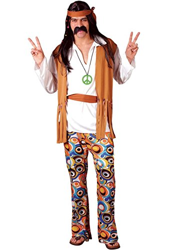 WOODSTOCK HIPPIE FANCY DRESS COSTUME MENS SIZE 46-48 (1960S)