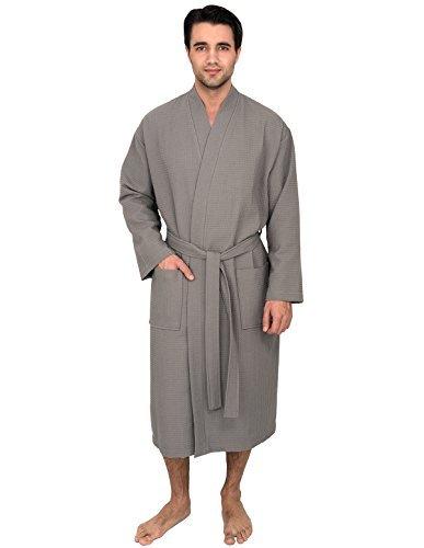 TowelSelections Herren Bademantel, Kimono, Waffelmuster - Grau - Medium/Large - Plaid Flanell Snap