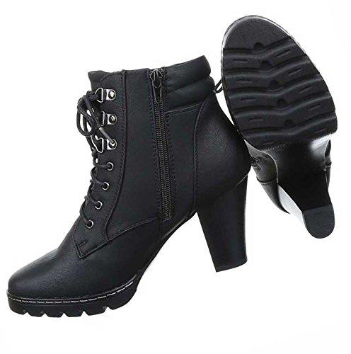 Damen Boots Schuhe Schnür Stiefeletten Schwarz Grau Braun 36 37 38 39 40 41 Schwarz