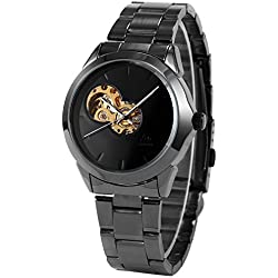 AMPM24 New Black Skeleton Mens Roman Cool Automatic Mechanical Steel Band Analog Watch + AMPM24 Gift Box PMW114