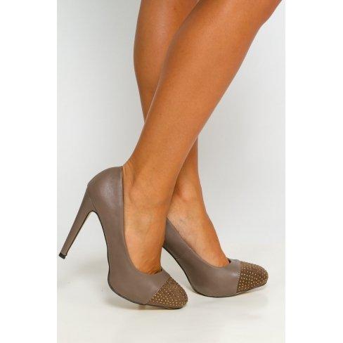 Princesse boutique - Escarpins taupe à strass Taupe