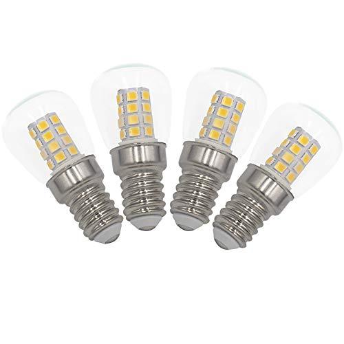 [4 Stück] E14 LED Lampe 3W Kühlschrank Helle LED Glühbirnen, Ersatz für 30W Halogenlampe 2700K Warmes Weiß 300lm nicht dimmbar geringe Hitze für Kühlschrank/Mikrowelle/Nähen Maschine -