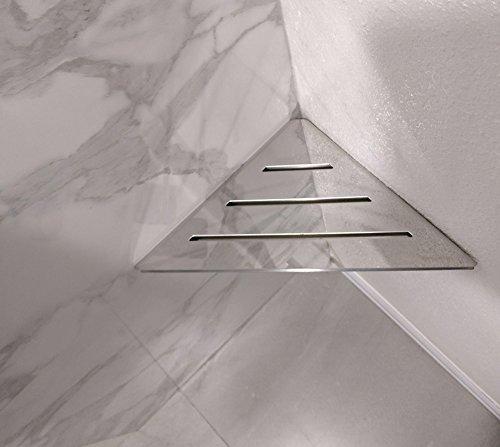 Le Dusche Hardware (Royal Edelstahl Dreieck Regal oder Fuß Prop von Serene Dampf Wandhalterung Dusche Regal für Badezimmer Hardware enthalten 12x 12x 17 poliertes chrom)
