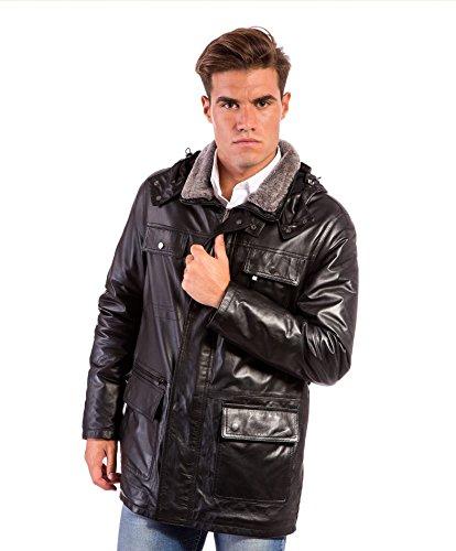 Sur-veste en cuir homme noir Made in Italy avec capuch