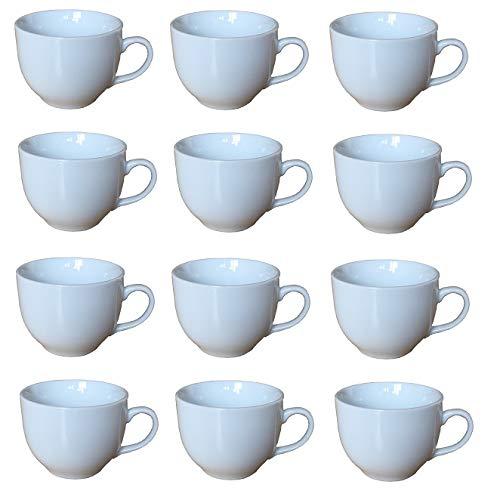 Lissek 12 Stück Keramik Kaffeetasse 200ml Becher Pot Teetasse weiß