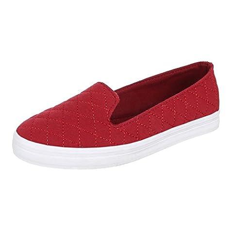Damen Schuhe, 55-31, HALBSCHUHE, SLIPPER, Textil , Rot, Gr 37