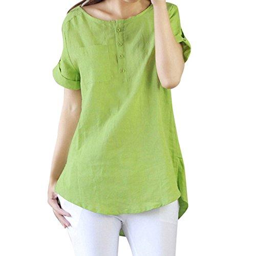 iHENGH Damen Top Bluse Bequem Lässig Mode T-Shirt Blusen Frauen beiläufige Kurze Hülsen lose T-Shirt Baumwollleinenbluse übersteigt(Grün, S) -