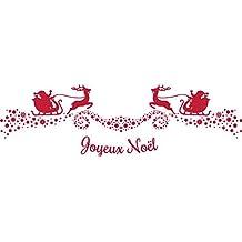 Chaks 0856, Chemin de table Noël-Traineaux, BLANC décos rouge