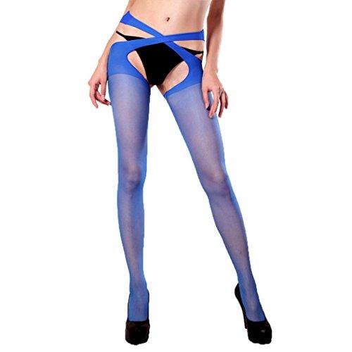 VENMO Damen Strümpfe Strumpfhosen alterlose Strapsstrümpfe Strumpfbänder Strumpfhalter Strumpfhosen Reizwäsche Bodystocking Perspektive Netzgarn Strumpfhose Open Crotch Strumpf (Sexy Blue)