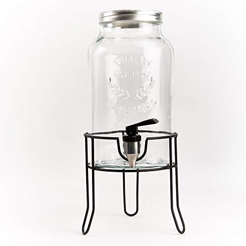ANA Ceramic Getränkespender Country Style | aus Glas mit Schraubdeckel | inkl. Ständer (5,5 Liter)